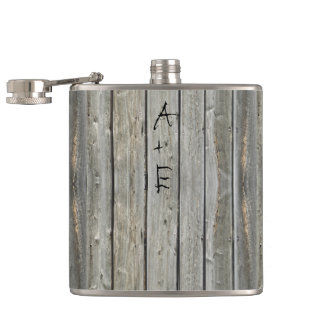 Barn Wood Your Initials Mr. Hipster Vintage Retro Flask