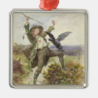 Barnaby Rudge and the Raven Grip Silver-Colored Square Ornament