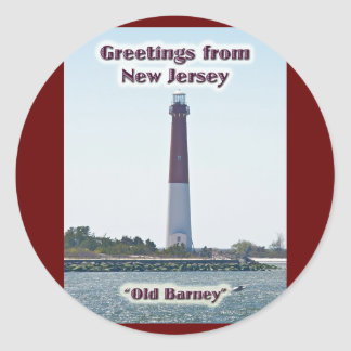 Barnegat Lighthouse NJ Greetings New Jersey Round Sticker