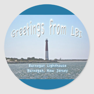 Barnegat Lighthouse (Old Barney) Greetings LBI Round Sticker