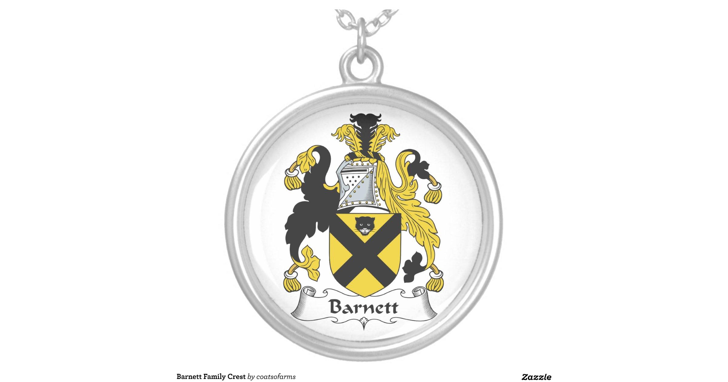barnett family crest pendant necklace zazzle