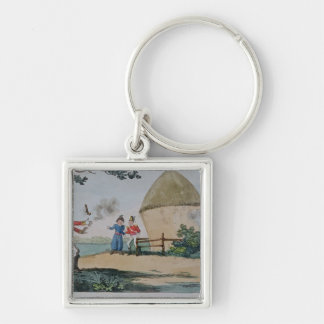 Barney fighting a duel Silver-Colored square keychain