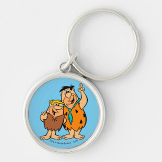 Barney Rubble and Fred Flintstone Silver-Colored Round Keychain