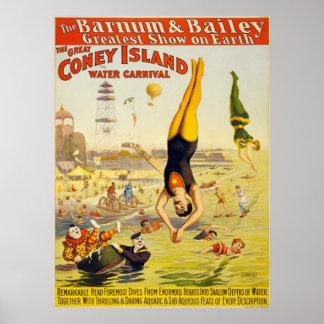 Barnum & Bailey Coney Island Water Carnival Poster