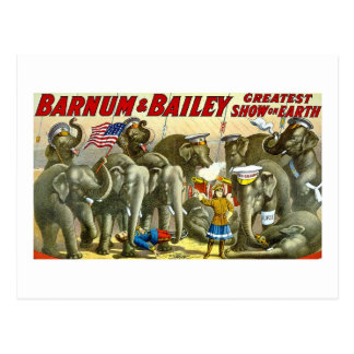 Barnum & Bailey - Elephants - Vintage Ad Postcard
