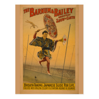 Barnum & Bailey Slide for Life Circus Poster Postcard
