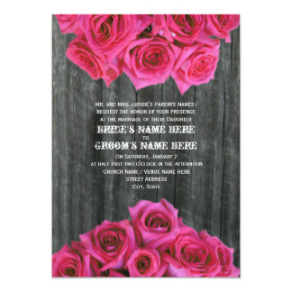 Barnwood and Hot Pink Roses Wedding Invitation
