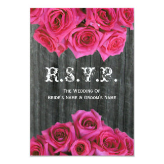 Barnwood and Hot Pink Roses Wedding Small RSVP Custom Announcements