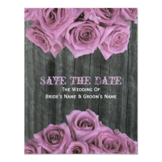 "Barnwood and Pink Roses Wedding Save The Date 4.25"" X 5.5"" Invitation Card"