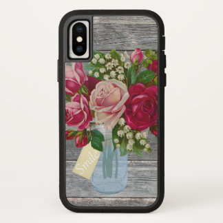 Barnwood and Roses in Mason Jar Smile Tag iPhone X Case