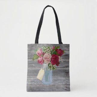 Barnwood and Roses in Mason Jar Smile Tag Tote Bag