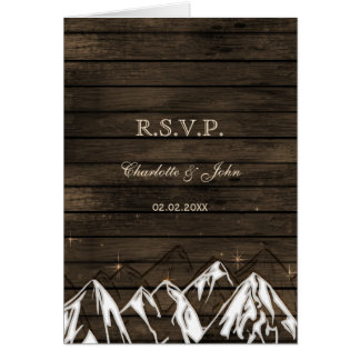 Barnwood Camping Rustic Mountains Wedding rsvp Card