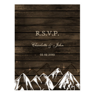 Barnwood Camping Rustic Mountains Wedding rsvp Postcard