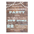 Barnwood Lights Aqua Housewarming Invitations