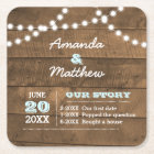 Barnwood Lights Aqua Personalized Wedding Square Paper Coaster