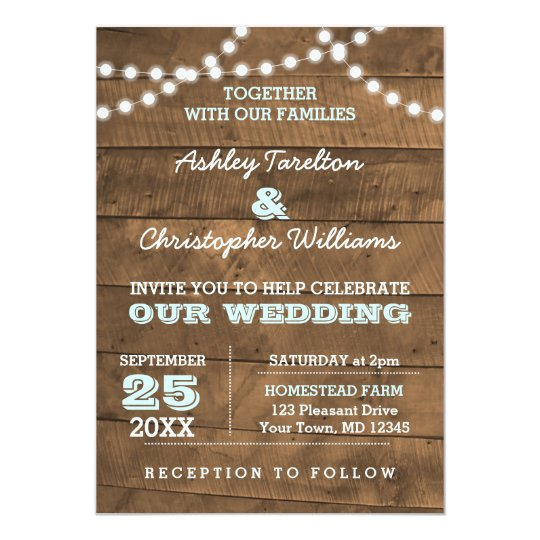 Barnwood Lights Aqua Wedding Invitation