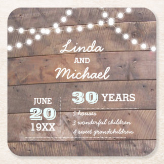 Barnwood Lights Diamond Personalized Anniversary Square Paper Coaster