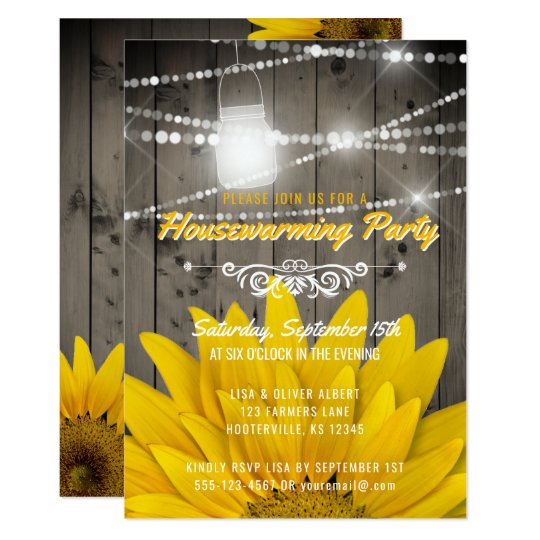 Barnwood Lights Mason Jar Sunflower Housewarming Card