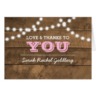 Barnwood Lights Pink Bat Mitzvah Thank You Note Card
