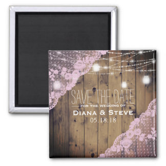 Barnwood Pink Lace Mason Jar Wedding Save the Date Magnet