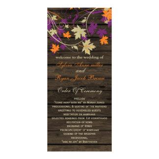 Barnwood plum fall wedding programs tea length rack card design