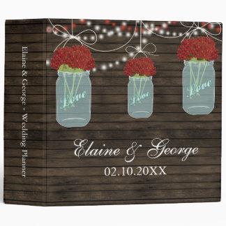 Barnwood red flowers Mason Jar Wedding Planner Vinyl Binders