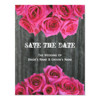 Barnwood & Roses Wedding Save The Date 4.25x5.5 Paper Invitation Card