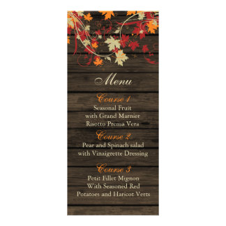Barnwood Rustic ,fall leaves wedding menu cards