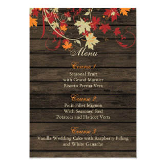 "Barnwood Rustic ,fall leaves wedding menu cards 5"" X 7"" Invitation Card"