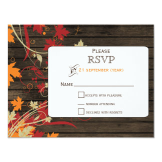 "Barnwood Rustic ,fall leaves wedding RSVP 4.25"" X 5.5"" Invitation Card"