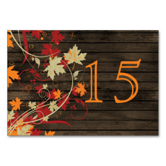 Barnwood Rustic ,fall leaves wedding table numbers Table Cards