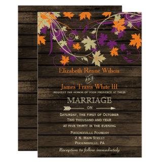 Barnwood, Rustic Fall Plum leaves wedding Card