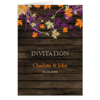 Barnwood, Rustic Fall plum leaves wedding invites