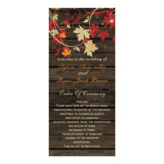 Barnwood Rustic ,fall wedding programs tea length Rack Card Design