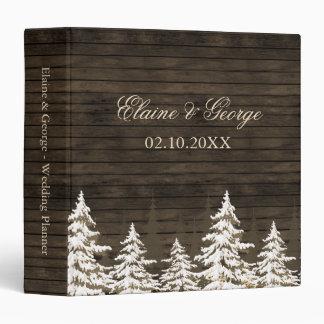 Barnwood Rustic Pine trees winter wedding  Planner 3 Ring Binders