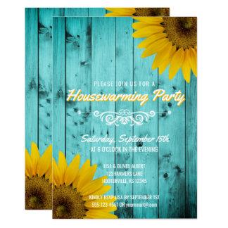Barnwood Rustic Sunflowers Teal Housewarming Party Card