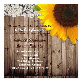 barnwood sunflower wedding country wedding card