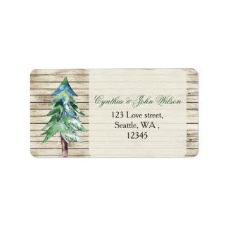 Barnwood watercolor pine wedding address label