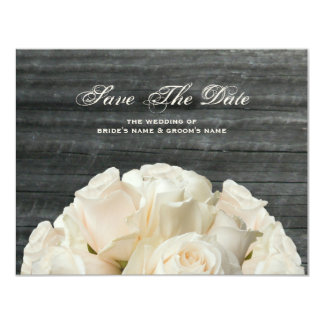 "Barnwood & White Roses Wedding Save The Date 4.25"" X 5.5"" Invitation Card"