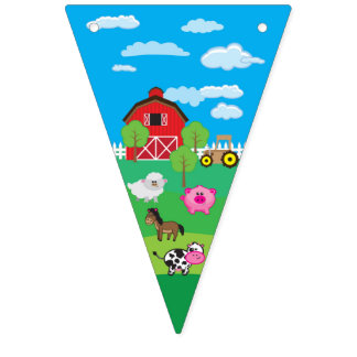 Barnyard Animal - Farm - Birthday - Baby Shower Bunting Flags