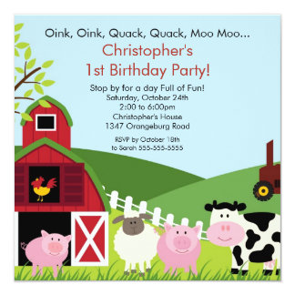 "Barnyard Animal Fun Birthday Party 5.25"" Square Invitation Card"