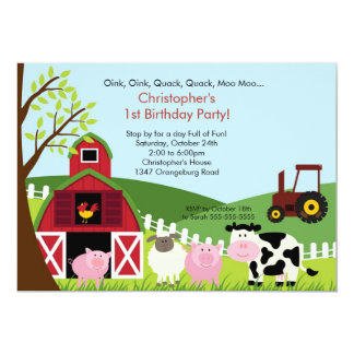 "Barnyard Animal Fun Birthday Party 5"" X 7"" Invitation Card"