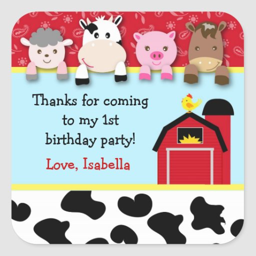 Barnyard animals Birthday Party favor labels Square Stickers