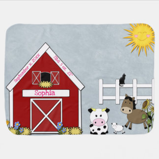 Barnyard Animals, Farm,  Custom Baby Blanket