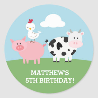 Barnyard Birthday Bash/Party Classic Round Sticker