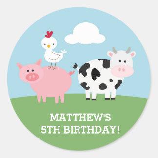 Barnyard Birthday Bash/Party Round Sticker