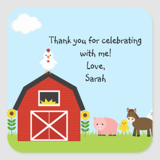 Barnyard Buddies Square Sticker