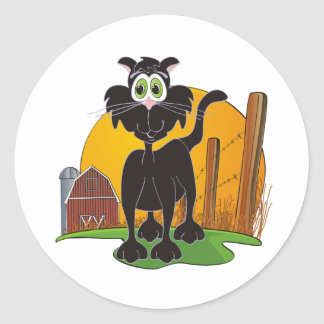 Barnyard Cat Classic Round Sticker