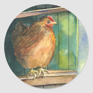 Barnyard Chicken Classic Round Sticker