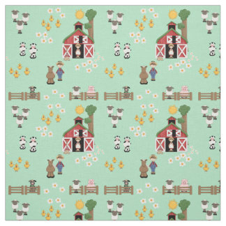 Barnyard farm animal mint nursery fabric